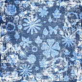 Blue grunge floral fabric texture — Stock Photo