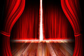 Red theater stage with curtain — Stock Photo