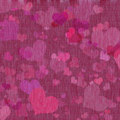 Canvas texture with hearts — Stock Photo