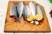 Fish carcass with spices on wooden hardboard, prepared for cooki — Stock Photo