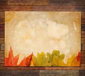 Autumn Leaves on the Old Paper sheet — Stock Photo