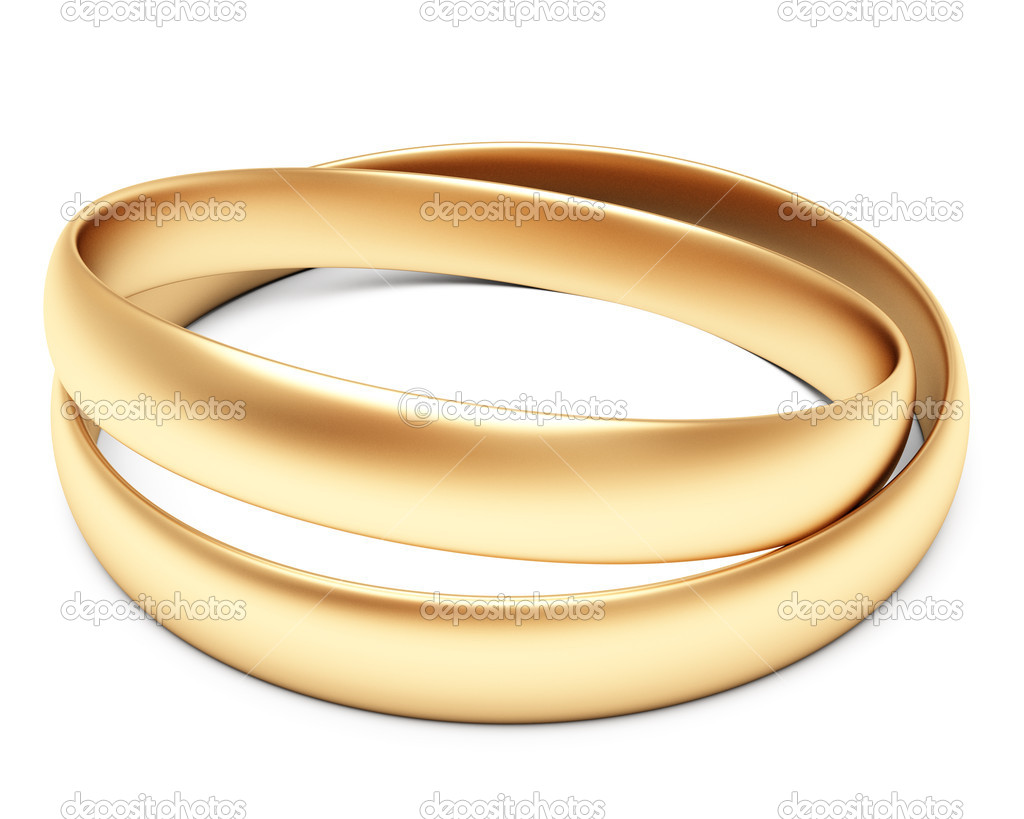 A set of gold wedding rings isolated on white background  Stock Photo #7450487