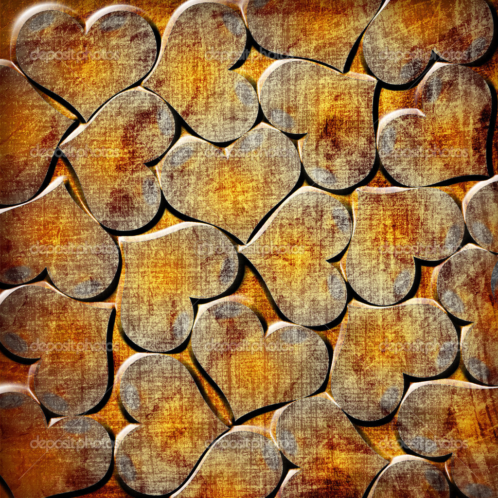 Background with orange grunge hearts — Stock Photo #7455894