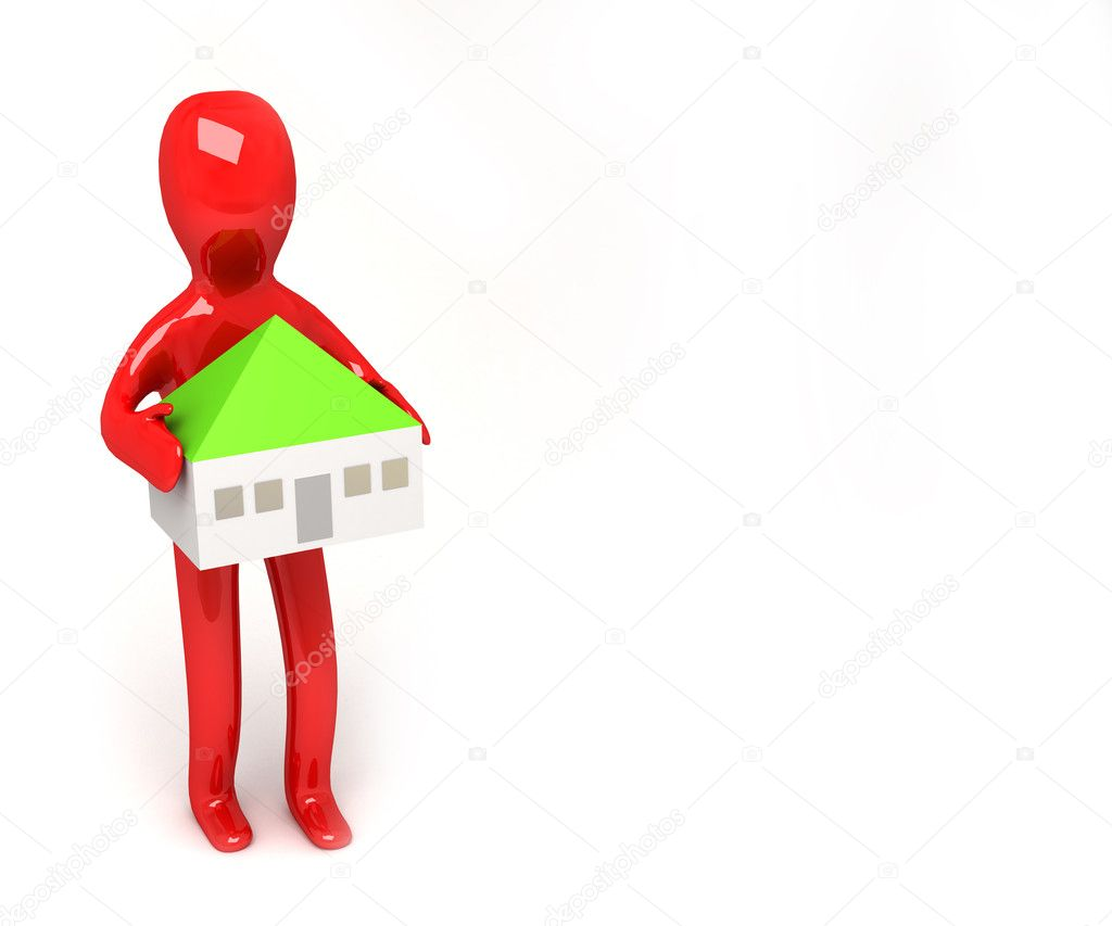 3d man with house in heands — Stock Photo #7456881