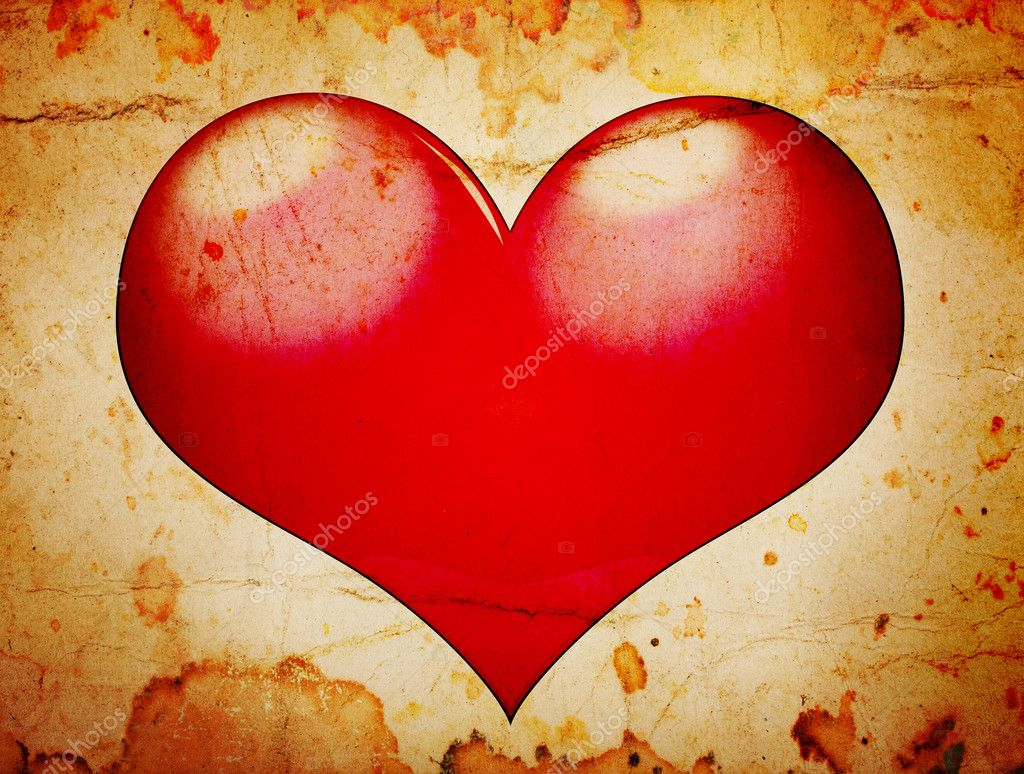Red heart grunge background — Stock Photo #7458195