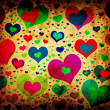 Grunge background with colorful hearts — Foto de stock #7473972