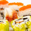 A diverse selection of delicious Japanese sushi rolls — Zdjęcie stockowe