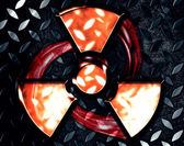 Symbol of radiation on a steel background — Stock Photo
