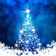 Stock Photo: Christmas tree on a blue background