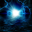 Bright blue flash with lightning in the night sky — Stock Photo #7849846