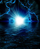 Bright blue flash with lightning in the night sky — Stock Photo