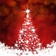 Christmas tree on a red background — 图库照片