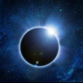 Solar eclipse on a black background — Stock Photo