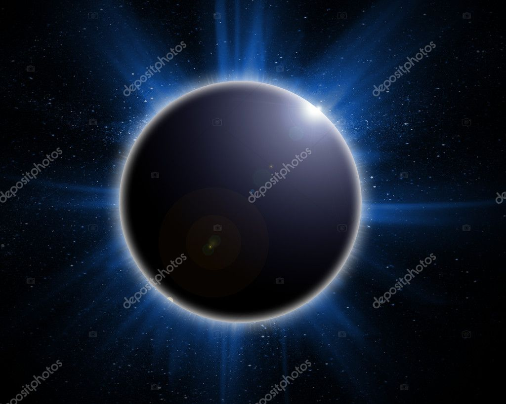 Solar eclipse on a black background  Stockfoto #7942153