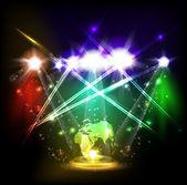 World neon light stage — Stock Vector