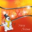Christmas Illustration Of Happy Snowman - Stock Vector
