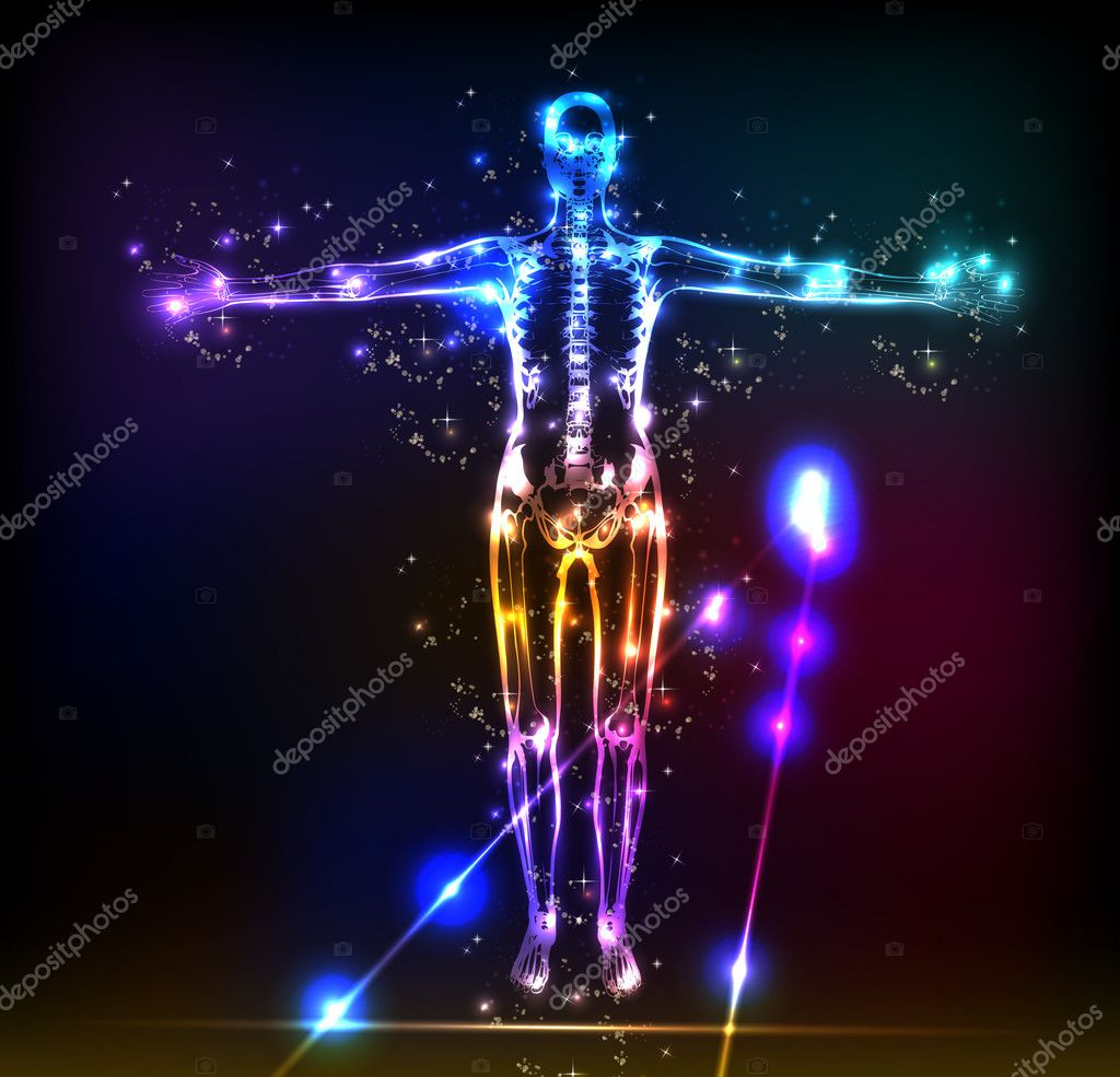 Abstract human body background neon design — Stock Vector #7460036