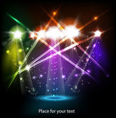 Banner neon light stage background — Stock Vector