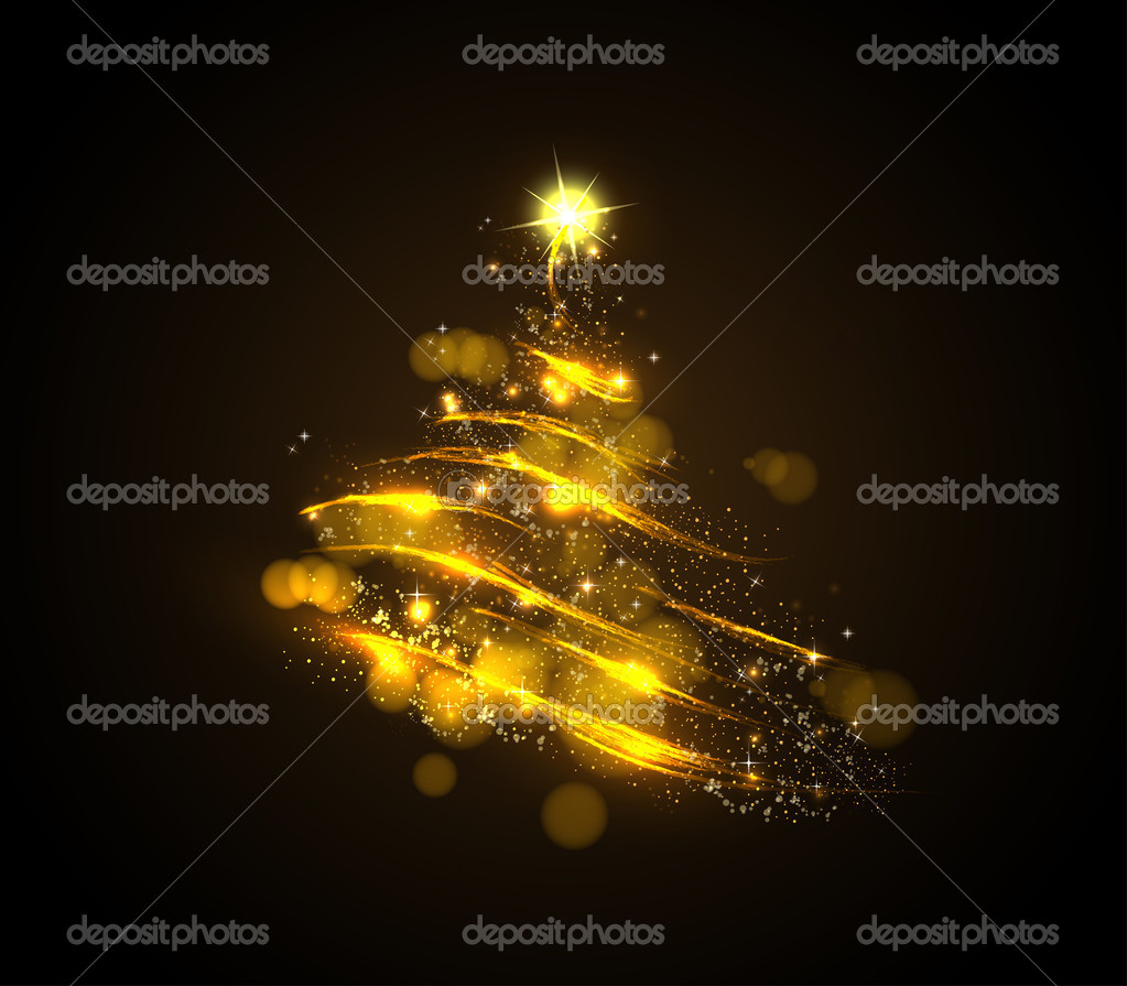 Abstract golden christmas tree on black background  Stock Vector #7662714