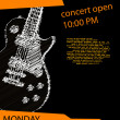 Music poster with guitar - Stock Vector