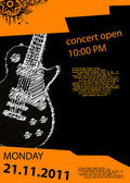 Music poster with guitar — Vector de stock