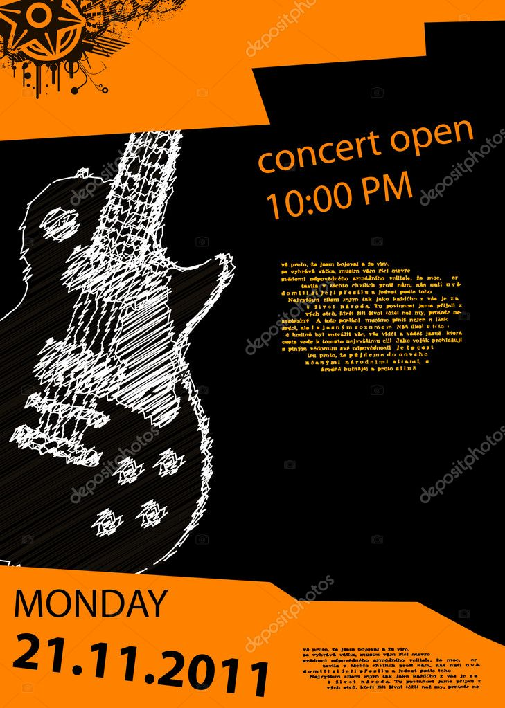 Vector music poster with guitar  Stock Vector #7716883