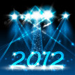 Happy new year 2012, neon stage — Stock Vector