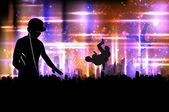 Партия dj звука на фоне города — Cтоковый вектор