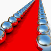 Abstract red way with chrome balls around. — Stock Photo