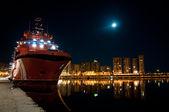 Bateau dans le port de nuit — Photo