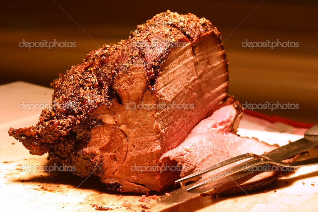 Shot of prime rib at a buffet table. Shallow DOF.  Stock Photo #7409115