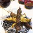 Royalty-Free Stock Photo: Beef & Chicken Satay with Peanut Sauce