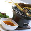 Beef & Chicken Satay with Peanut Sauce — Stock Photo