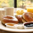Stock Photo: Breakfast Series - Bagels, coffee and juice