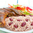 Jerk Chicken with Rice - Caribbean Style — Stock Photo