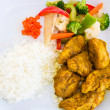 Curried Chicken with Rice and Vegetables - Jamaican Style — Stock Photo