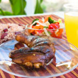 Stock Photo: Jerk Chicken with Vegetables, Rice and Lemonade