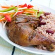 Stock Photo: Jerk Chicken with Rice - CaribbeStyle