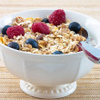 Muesli with Raspberries and Blueberries — Stock Photo