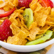 Corn Flakes with Strawberries and Kiwi Fruit — Stock Photo
