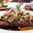 Stock Photo: Grilled Beef Steaks with Mushrooms