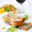 Suckling Pig Steak served with Wine — Stock Photo