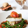 Stock Photo: Atlantic Cod served with White Wine