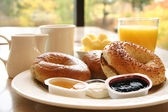 Breakfast Series - Bagels, coffee and juice — Stock Photo