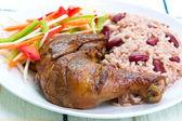 Jerk Chicken with Rice - Caribbean Style — Stock Photo