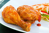 Fried chicken with Sauce - Caribbean Style — Stock Photo