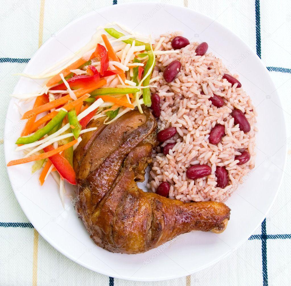 Jerk Chicken with Rice - Caribbean Style — Stock Photo © rohitseth ...