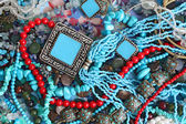 Background with turquoise and corals — Stock Photo