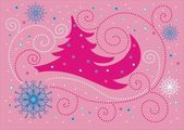Christmas pink background — Stock Vector