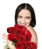 Woman with roses — Stock fotografie